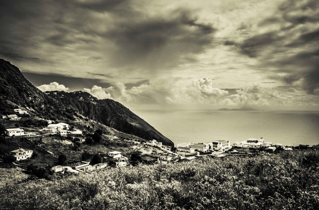 Eastern View of Saba's South Coast From Thais Hill, Dutch Caribbean