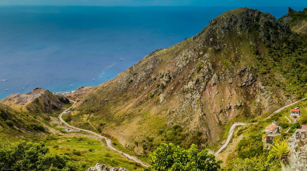 The Road Winds Down To Fort Bay, Saba, Dutch Caribbean
