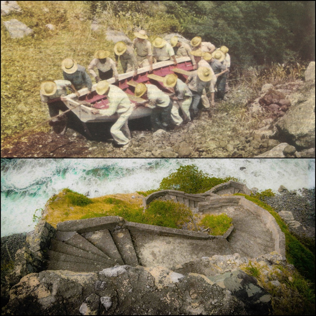 Top: Sabans carry boat up The Ladder in 1940 Bottom: The Ladder today