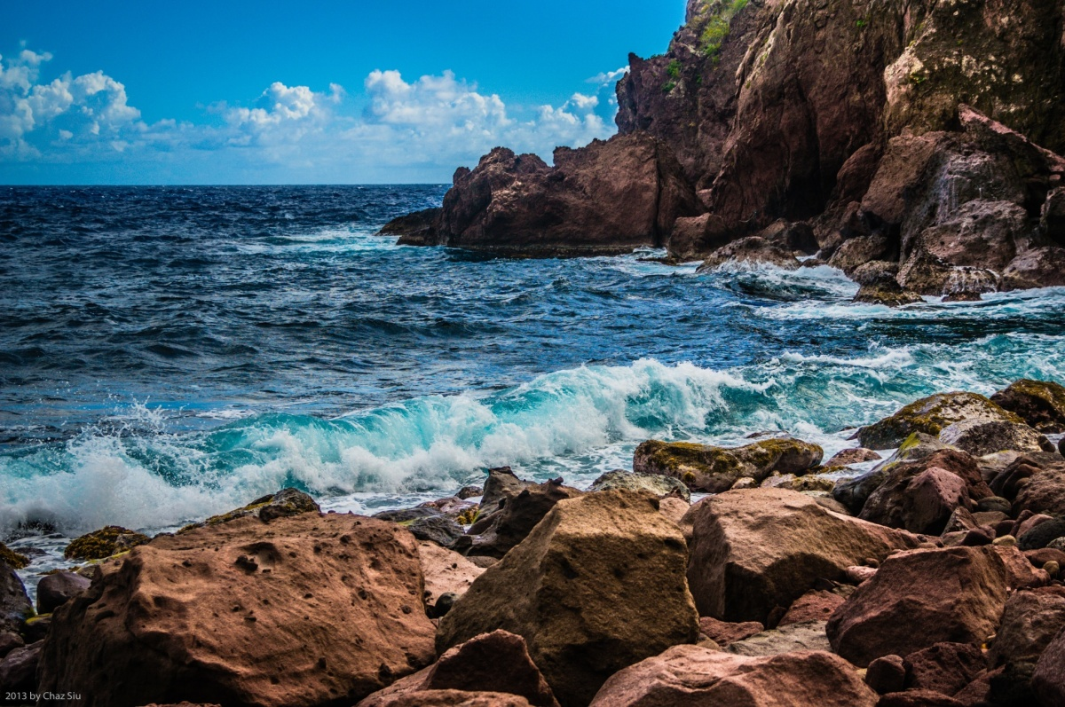 Waves Crash Ashore At Spring Bay, Saba, Dutch Caribbean