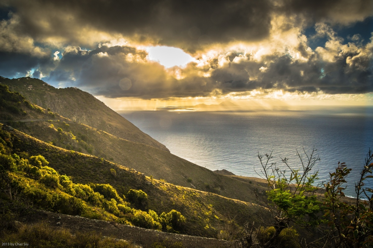 Morning Light Over Statia, Saba, Dutch Caribbean