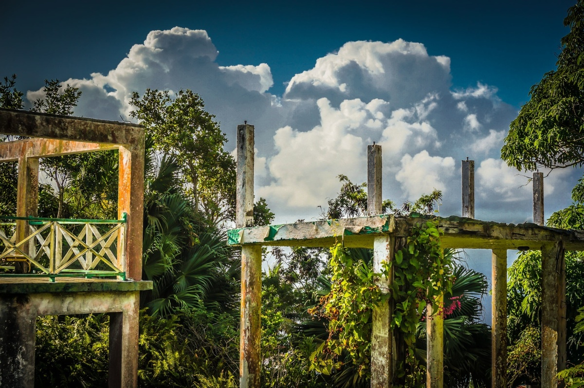 Clouds Billow Over The Structural Remains of Captain's Quarters Hotel, Saba, Dutch Caribbean