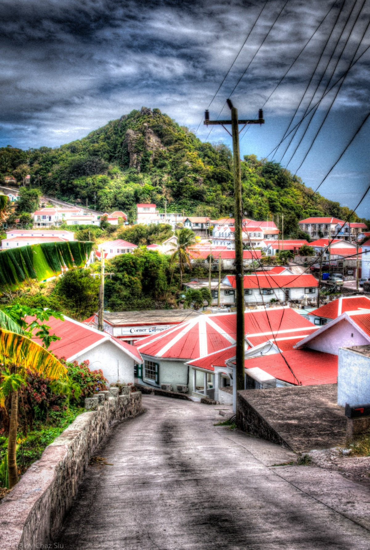 Telephone Lines, Windwardside, Saba, Dutch Caribbean