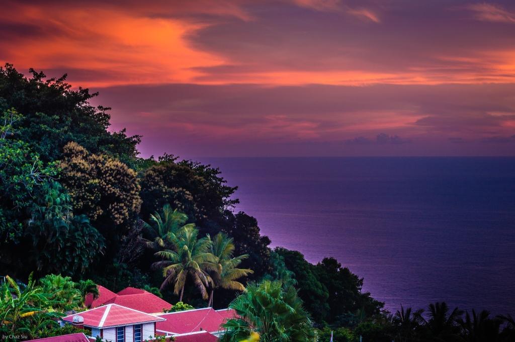Montserrat Ash Plume Sunset, Saba, Dutch Caribbean