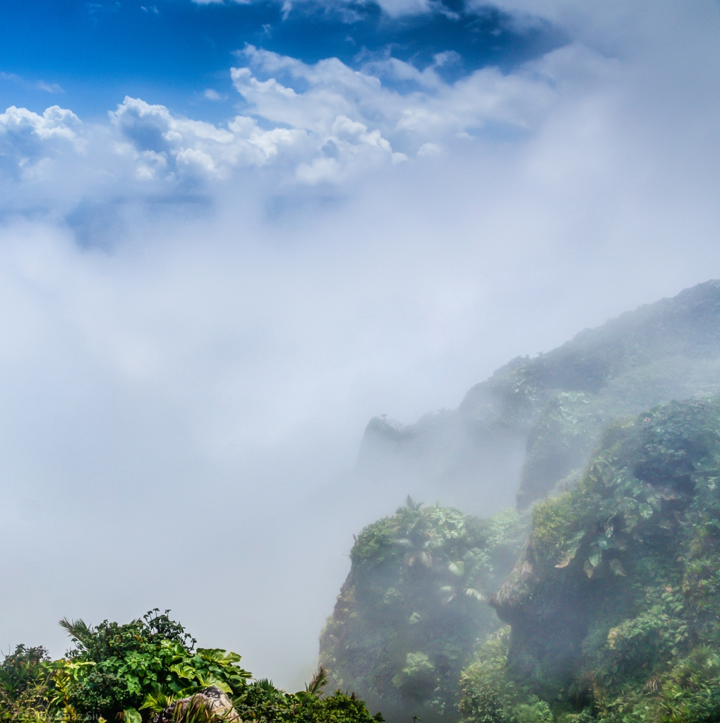 Angel Clouds and Cliffs, Mt Scenery Summit, Saba, Dutch Caribbean