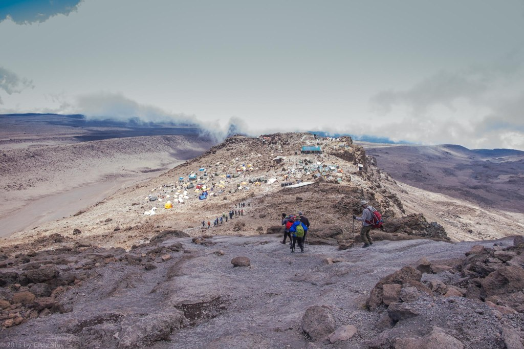Down From Summit, But Only Halfway Mist Over Crowded Barafu Camp
