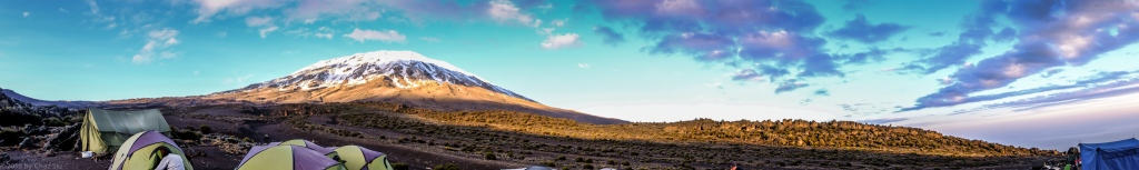 CLICK TO EXPAND - Pano of Kili and Third Cave Ravine and Camp