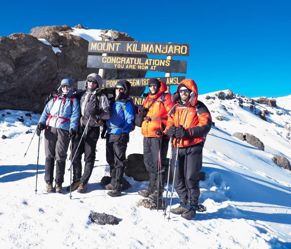 Team At Stella Point, Elevation  18, 800 feet.