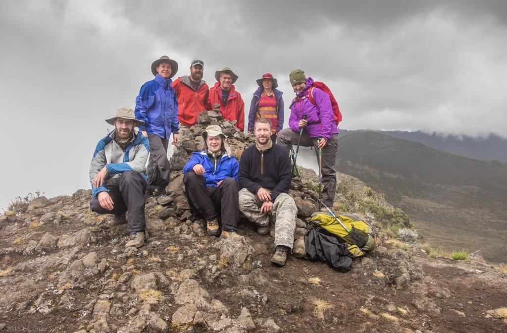 Summit Team Atop Shira Cathedral. (L to R) Paul, Caryl, Rhys, Alex, Me, Cort, Kitt, Irina